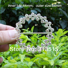 (M0182) 44mm inner bar silver flower cluster round chair sash buckle made of czech stone customized size available(China)