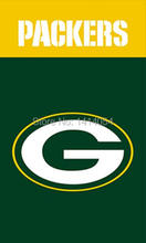 Green Bay Packers WORDMARK LOGO Vertical Flag 150X90CM Banner 100D Polyester3x5 FT flag brass grommets1006, free shipping(China)