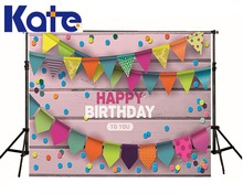 Happy Birthday Theme Kate Photo Backdrop Wood Wall Colorful Banner Little photography backdrops Can Add Or Change Words