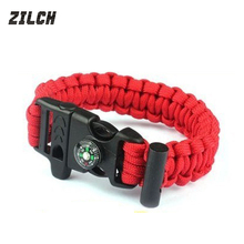 ZILCH Waterproof Multifunction Useful Outdoor Camping Travel Kit Compass Survival Flint Fire Starter Magnesium Rescue Whistle