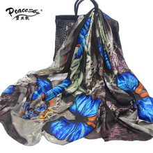 2016 Fashion bandana Scarve For Woman 100% Silk Scarf With Flower Colorful Butterfly Women Shawl High Quality Print hijab