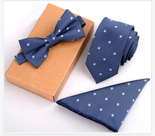 GUSLESON 3PCS Slim Tie Set Men Bow Tie and Handkerchief Bowtie Necktie Cravate Homme Noeud Papillon Man Corbatas Hombre Pajarita