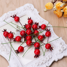 100PCS Mini Fake Smooth Glass Pomegranate Fruit Small Berries Artificial Flowers Red Cherry Stamen Wedding Christmas Decorative