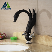 Unique Desing Dual Handle Swan Brass Basin Faucet Deck Mount One Hole Mixer Taps Oil Rubbed Bronze(China)