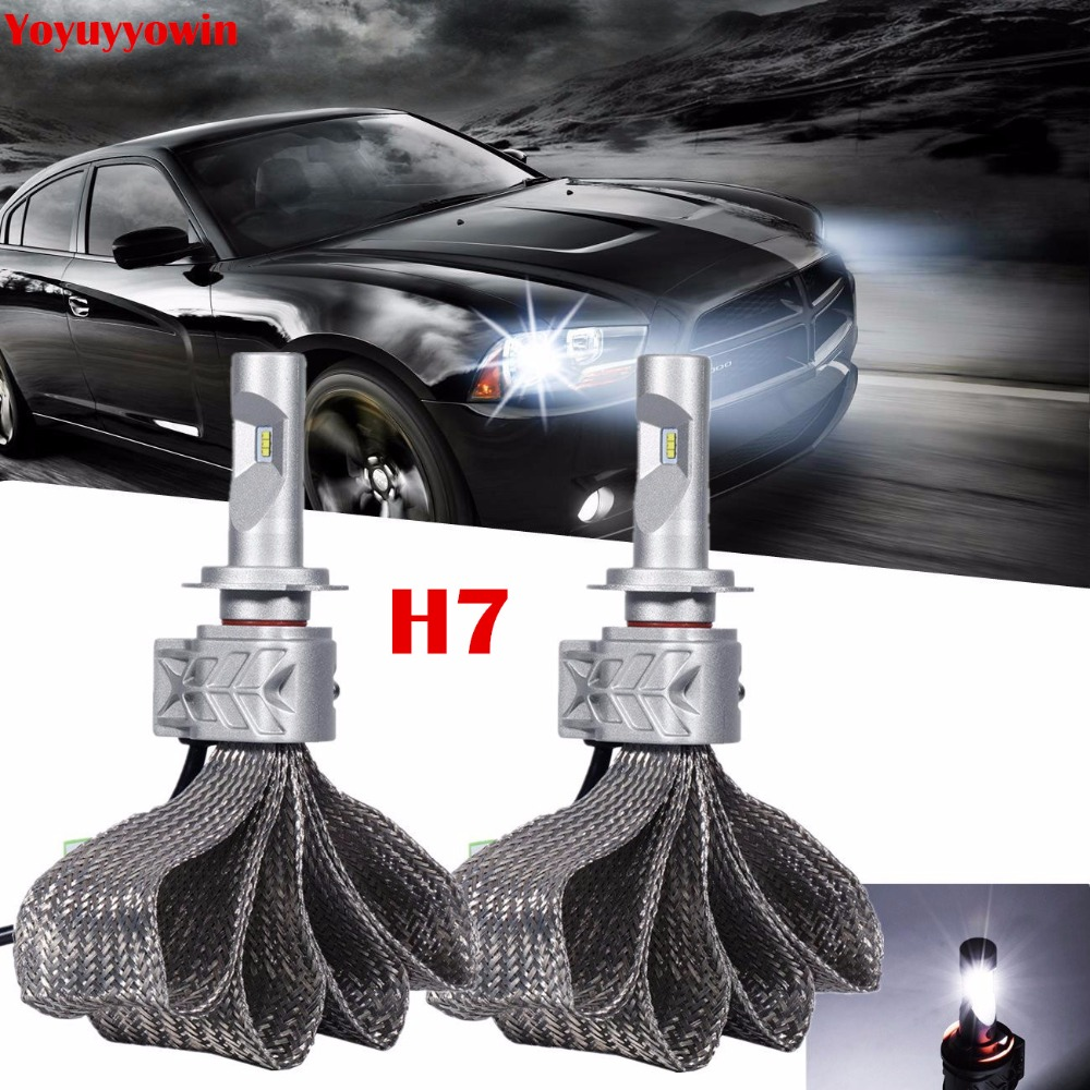 Pair Xenon White H7 8000LM LED Headlight Conversion Kit, Low beam headlamp, Fog DRL Light, HID or Halogen Head light Replacement<br>