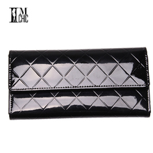 Elegant Plaid Patent Leather Long Women Wallets Candy Color Brand Design Female Purse Spring Summer Pink Black Yellow Wallet(China)