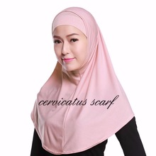 Plain 2 Piece Hijab Solid Color Stretch Elastic Adjustable Amira Hijab  Islamic Women Scarf Islamic Shawls Headwear Under Scarve