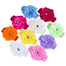 10pcs/set 10colors  4.7''Peony Chiffon Flower Crochet Headband Girls dress up Head band Chirstmas gift