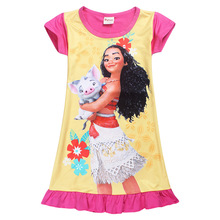 2017 Summer Moana Dresses for Girls Princess Birthday Party Dress Children Elsa Anna trolls Costume Kids Clothes 4-10Y
