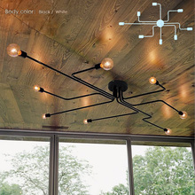 Wrought iron 4 heads 6 heads 8 heads Multiple rod ceiling dome lamp creative personality retro nostalgia cafe bar ceiling light