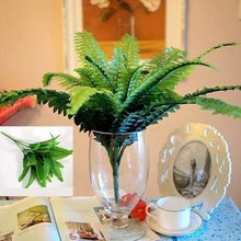 2017 Spring 7 Fork Persian Grass Leaves Leaf Artificial Silk Flower Green Fake Plant Flower Home Living Room Decor