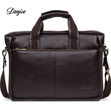 DANJUE High quality genuine leather men handbags brand fashion men's business briefcase bag big capacity men laptop bag(China)