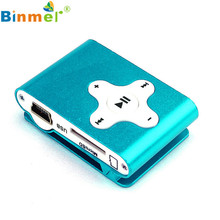 Factory Price Binmer Hot Selling Mini Clip Metal USB MP3 Player Support 32GB Micro SD TF Card Slot Digital Drop Shipping