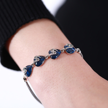 EDI fashion gemstone bracelet pure silver sapphire women bracelet & bangle silver jewelry bracelets for women Christmas jewelry(China)