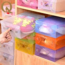 2017  practical family holding tools thickened plastic transparent shoebox color drawer box clamshell plastic shoes box