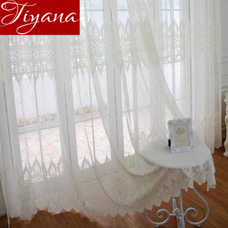 Lace Curtains for Modern Living Room Geometric Jacquard Tulle Curtain Treatment Window Bedroom Fabrics Sheer Cortinas X095 #30