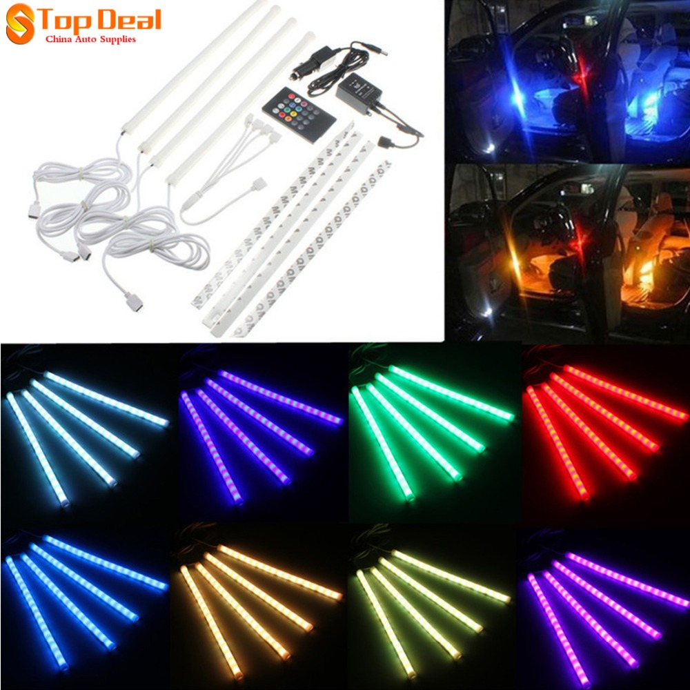 New 7 Color DC12V Day Time Running Lights RGB Strip 5050 SMD Led Lights Music Control For Car Interior Lighting Remote Control<br><br>Aliexpress