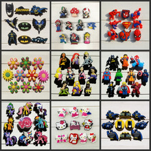 9-10pcs princess/Super Mario/Batman Shoe Accessories Shoe Charms Fit Bands Croc Jibz Party Gift(China)