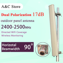 90degree outdoor panel sectored mimo antenna 2.4G 17dBi N-female connector wifi antenna dual polarizationfor ap sector high gain(China)