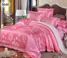 Jade pink luxury big floral 4pcs 6pcs silk bed linens peony comforter/blanket cover pillowcases cotton bed sheet sale 5646