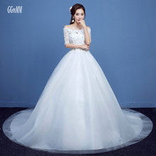 Buy Elegant Ivory Wedding Gowns Long 2018 White Wedding Dress Boat-Neck Tulle Appliques CryStal Lace-Up Bride Dresses Real Photos for $143.10 in AliExpress store