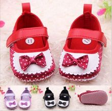 Fashion Metallic PU Bow Tie Baby Girl Shoes/Cute Soft Sole Baby Crib Shoes/Infant pre walker Shoe 0-12M(China)