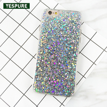 YESPURE Lady Glitter Cell Phone Covers for Iphone 7 TPU Soft Telephone Case Cover Fancy Pink Bling Funda Celular Para