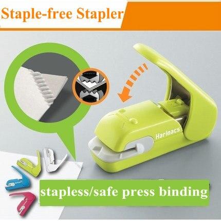 Creative Hot Staple Free Stapler Office Manual Mini Stapler Safe Paper Stapler Without Staple<br>