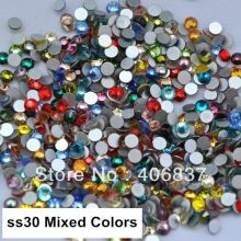 Free Shipping! 288pcs/Lot, ss30 (6.3-6.5mm) Mixed Colors Nail Art Non Hotfix Flat Back Rhinestones(China)