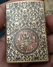 MY wholesale 3pcs/lot Brand  lighter Five carvings  Brass Etched Satan Hymn of the Devil Bible