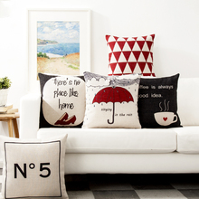 Decorative throw pillow cover case Mrs Miao  Shoes umbrella coffee cup geometric No.5 cotton linen cushion cover for car sofa