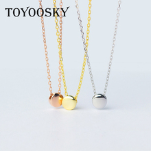 1pc Real. 925 Sterling Silver 5MM Lucky Round Bean Pendant Necklace Chain Rose Gold Color For Women Girls Friend Gift(China)