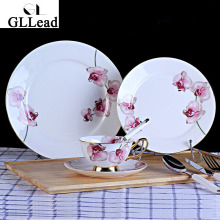 European Style High Quality Bone China Porcelain Dishes Hotel Restaurant Cutlery Western Style Steak Plate Tea Cup Saucer Sets