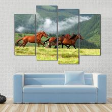 4 Pieces/set Canvas Art Wild Horses In Romanian Mountain Rodna Canvas Paintings Decoration For Home Wall Art Prints Canvas\A907
