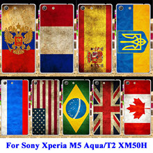AKABEILA TPU PC Phone Case For Sony Xperia M5 Aqua T2 XM50H D5306 E5606 E5653 D5322 D5303 E5603 Russia Brazil UK Flag Shell Bags