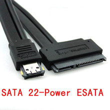 "50cm 100cm 0.5m 1m Dual Power 12V and 5V eSATAp Power ESATA USB 2.0 combo to 22Pin SATA cable for 2.5"" 3.5"" Hard Disk Drive"