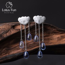 Lotus Fun Real 925 Sterling Silver Natural Handmade Fine Jewelry Ethnic Cloud Long Tassel Dangle Earrings for Women Brincos(China)
