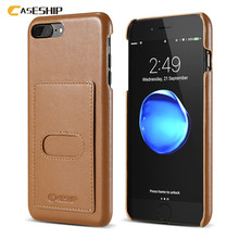 CASESHIP Genuine Leather Phone Cases For iPhone 7 Case 6 6S Plus Napa Leather Case With Card Slot For iPhone 6 6S 7 Plus(China)