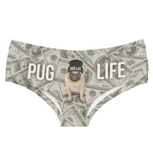 Buy Women Briefs 3D dollar dog style pug life Beach wear Print Panties Underwear Girls Sexy Cute Panties 2017 new Safety Underpants