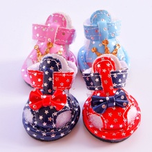 New Pet Shoes Bling Crown Star Red Pink Blue Summer Brand 4pcs/lot Dog Boots Accessories For Puppy Animals Chihuahua Yorkshire