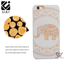 2017 White Elephant Laser U&I Wooden Cases Cover for iPhone 5 5S SE 6 6S 7 7Plus Custom Engrave Wood Cell Phone Back Capa Fundas