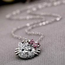 Tomtosh 2017 New Arrival Fashion Crystal Cat Rhinestone Hello Kitty necklace Bowknot KT Jewelry For Girls Necklace