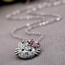 FAMSHIN 2017 New Arrival Fashion Crystal Cat Rhinestone Hello Kitty necklace Bowknot KT Jewelry For Girls Necklace(China)
