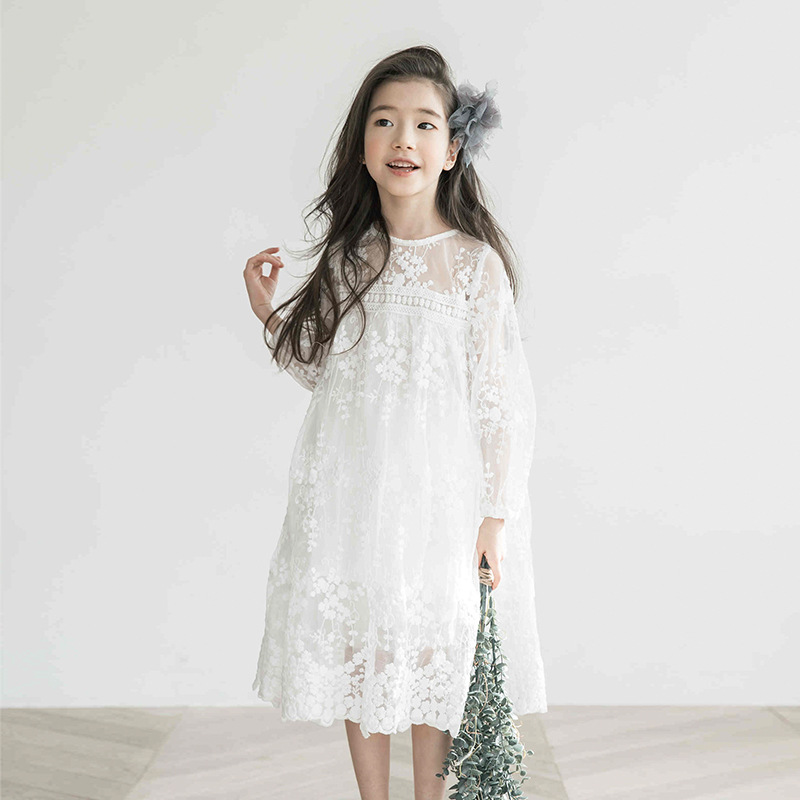 lace crochet floral big girls dress baby summer spring 2018 new ruffles long white party little dress for girl princess clothing<br>