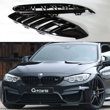 For BMW F32 F33 F36 F82 F83 M4 Style Dual Slats ABS Auto Car Front Bumper Mesh Grill Guard Gloss Finish 2014-2016