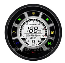 2016 new arrival High quality Universal 12000RMP Digital Speedometer Odometer Tachometer motorcycle digital gauge1-4 Cylinders(China)