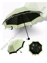 4pcs/lot colour option super light folding mini umbrella 5 times black coating Anti-UV two layers rice yellow lace parasol(China)