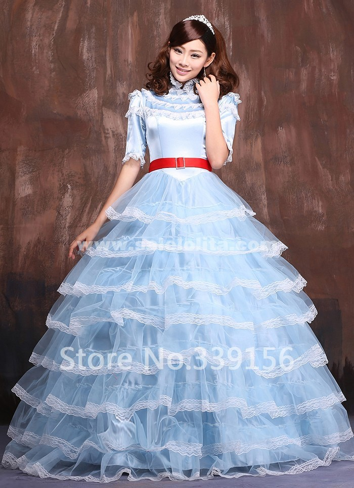 2019 New Blue Floor-Length Lace Lolita Dresses,European Medieval Renaissance Marie Antoinette Queen Victorian Ball Gowns Costume
