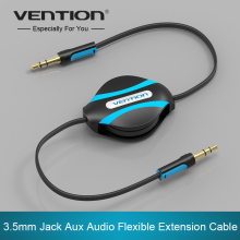 Vention Retractable Aux Cable 3.5mm Male to Male Auxiliary Stereo Jack Audio Cable For iphone 6 Car Sumsung Mp3 Mp4(China)