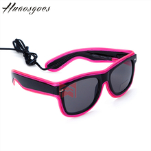 Sale Double light Neon Light Up Shutter Glow LED Glasses Rave Costume Party DJ Bright El Wire SunGlasses 10 Type colors